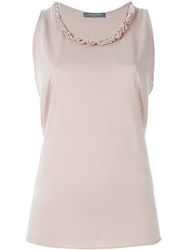 Alexander Mcqueen Ruffled Neck Tank Top Pink And Purple