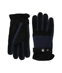 Original Penguin Ribbed Knit And Suede Gloves Black Extreme Cold Weather Gloves