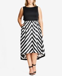 City Chic Trendy Plus Size High Low Fit And Flare Dress Black