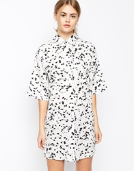 Motel Stella Shirt Dress In Mono Print Monochromaticmarks