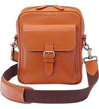 Aspinal Of London Harrison Small Leather Messenger Bag Tan