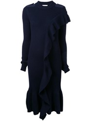 Each X Other Ruffled Ribbed Knit Dress Blue