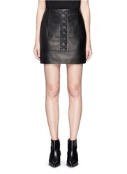 Neil Barrett Elastic Front Sheepskin Leather Mini Skirt Black
