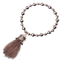Adele Marie Bead Chain Tassel Stretch Bracelet Rose Gold