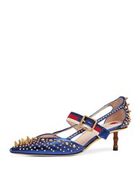 Gucci Unia Studded Point Toe Pump Blue
