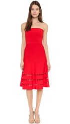 Ohne Titel Perforated Strapless Dress Red