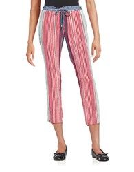 Splendid Striped Knit Pants Red Multi