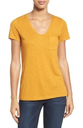 Caslonr Petite Women's Caslon Relaxed Slub Knit U Neck Tee Orange Inca