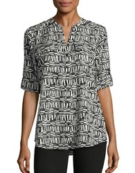 Calvin Klein Printed Button Front Shirt Latte Soft White