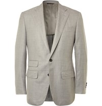 Thom Sweeney Grey Slim Fit Slub Wool Silk And Linen Blend Blazer Gray