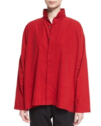 Eskandar Stand Collar Cashmere Button Front Top Ruby