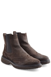 Hogan Suede Ankle Boots Brown