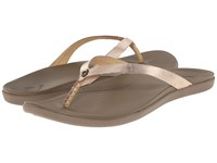 Olukai Ho'opio Leather Bubbly Mustang Women's Sandals Gold