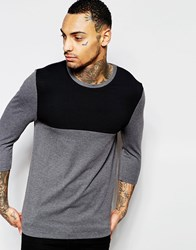 Asos Muscle 3 4 Sleeve T Shirt With Contrast Yoke In Gray Charcoal