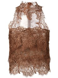 Ermanno Scervino High Neck Lace Top Brown