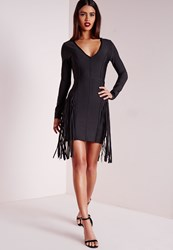 Missguided Premium Bandage Fringe Long Sleeve Bodycon Dress Black Black
