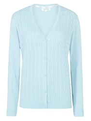 Tulchan Fine Cable V Neck Cardigan Duck Egg