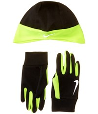Nike Running Thermal Beanie Glove Set Black Volt Athletic Sports Equipment