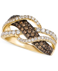 Le Vian Chocolate And White Diamond Woven Ring In 14K Gold 1 Ct. T.W. Yellow Gold