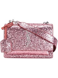 Saint Laurent Small 'Sunset Monogram' Satchel Bag Pink And Purple