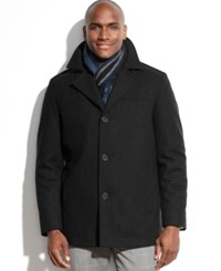 Perry Ellis Portfolio Big And Tall Wool Blend Coat With Scarf Black