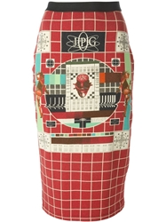 Jean Paul Gaultier Vintage 'Tv' Skirt Red