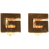 Alice Joseph Vintage Givenchy Gold Plated G Logo Clip On Earrings Gold