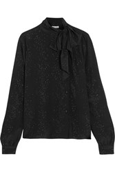 Tomas Maier Cosmic Metallic Printed Silk Georgette Blouse Black