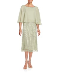 J Kara Popover Lace Gown Sage Silver