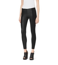 Michael Kors Leather And Suede Leggings Black