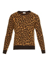 Saint Laurent Leopard Print Mohair Blend Sweater