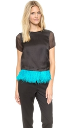 Marchesa Voyage Feather Bordered Tee Black Caribbean Blue Feather