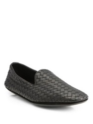 Bottega Veneta Intrecciato Foulard Leather Slippers Espresso Black