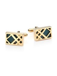 Burberry Check Cufflinks Emerald