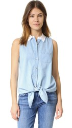 Equipment Mina Tie Front Collar Top Sky Blue