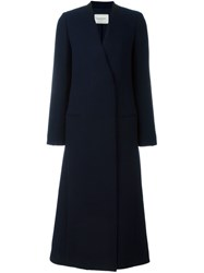 Lanvin Raw Cut Long Coat Blue
