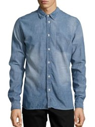 Nudie Jeans Henry Worn Chambray Shirt Blue