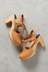 Anthropologie Swedish Hasbeens T Strap Platform Clogs Neutral