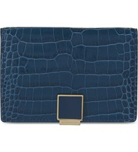 Smythson Mara Crocodile Embossed Leather Slide Card Case