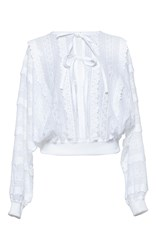 Andrew Gn Tie Front Long Sleeve Top White
