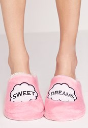 Missguided Sweet Dreams Slippers Pink Pink