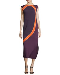 Narciso Rodriguez Sleeveless Circle Print Georgette Midi Dress Purple Size 48