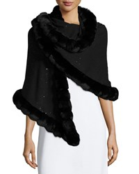 Fur Trim Cashmere Evening Shawl Black Women's Loro Piana