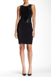 Ramy Brook Brandice Fitted Leather And Suede Dress Black