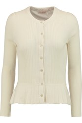 Tory Burch Margaret Ribbed Knit Silk And Cashmere Blend Peplum Cardigan White