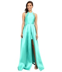 Faviana Frosted Satin Gown With Split Front Overskirt 7752 Spearmint Women's Dress Green