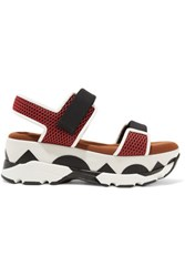 Marni Mesh And Leather Platform Sandals Red