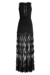 Elie Saab Floor Length Knit Dress With Lace Black