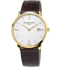 Frederique Constant Fc220v5s5 Slimline Yellow Gold Plated Stainless Steel Watch White