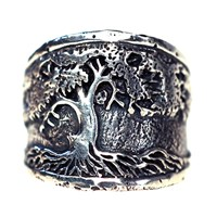 House Of Alaia Tree Of Life Saddle Ring Oxidized Sterling Silver